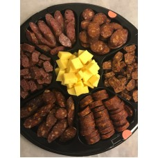 Smoked sausage and cheese platter